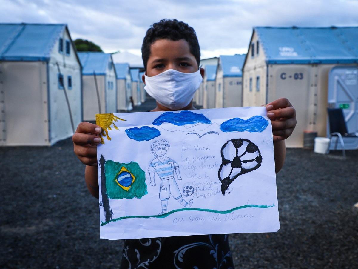 Refugiados do abrigo São Vicente em Boa Vista participam do concurso de arte Meu Futuro no Brasil, no Dia Mundial do Refugiado 2020