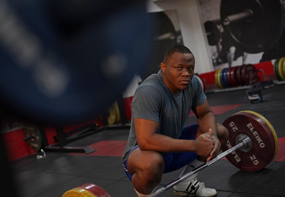 United Kingdom. Weightlifter and Refugee Olympic Team hopeful Cyrille Tchatchet