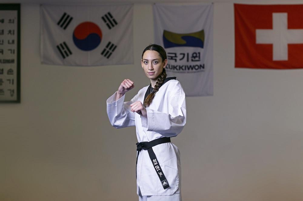 Switzerland. Taekwondo champion and Refugee Olympic Team hopeful Kimia Alizadeh trains in Basel