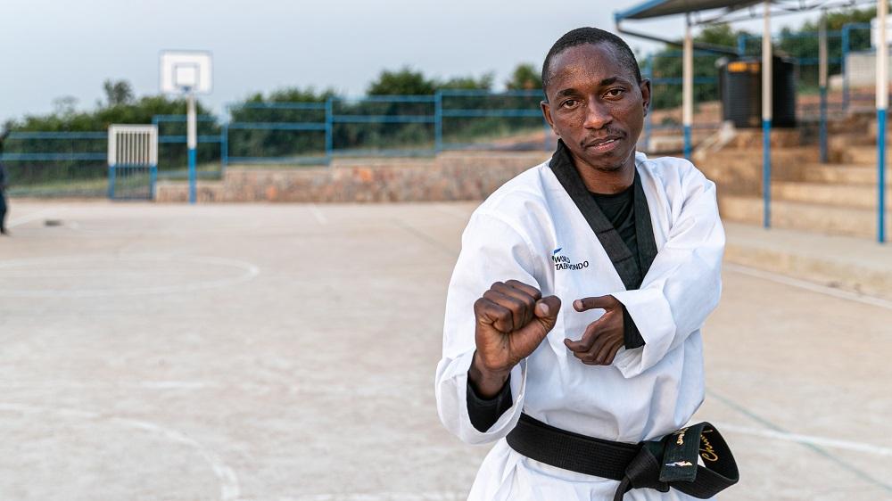 Rwanda. Refugee Taekwondo athlete trains with hopes of a place on the Refugee Paralympic Team
