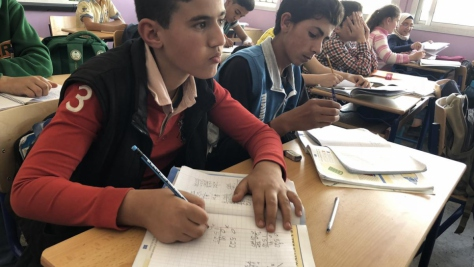 Lebanon. Second shift schools provide an education to Syrian refugees in Lebanon